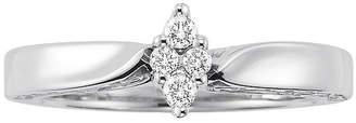 MODERN BRIDE Womens 1/8 CT. T.W. Genuine White Diamond Sterling Silver Cluster Ring
