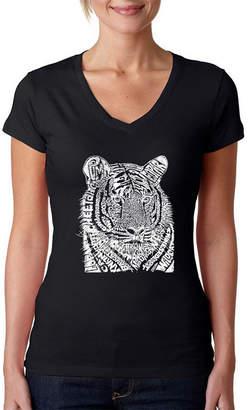 LOS ANGELES POP ART Los Angeles Pop Art Women's Word Art V-Neck T-Shirt - Big Cats