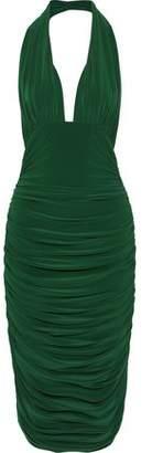Norma Kamali Ruched Stretch-jersey Halterneck Dress