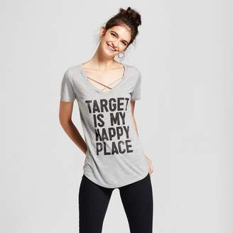 Awake Women's Target is My Happy Place Short Sleeve Cross Front Drapey Graphic T-Shirt Gray