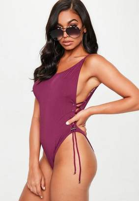 Missguided Purple Low Back Lace Up Side Swimsuit