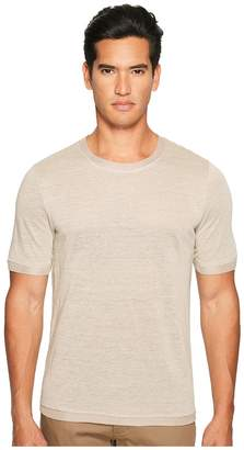 Vince Linen Short Sleeve Crew Neck Trimmed Sweater