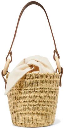 Muun Seau Straw And Printed Cotton-canvas Bucket Bag - Ecru