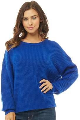 Brave Soul Womens Kneehow Fisherman Knit Jumper Electric Blue