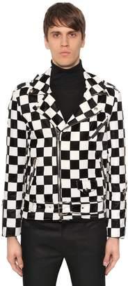 Checkerboard Velvet Biker Jacket