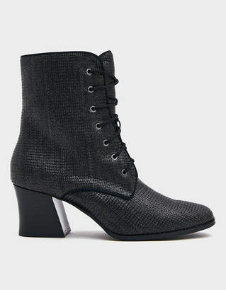 Intentionally Blank Mox Laceup Woven Boot in Black Woven