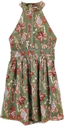 Goodnight Macaroon 'Rhonda' Halter Neck Green Floral Midi Dress