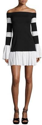 Alexis Miggy Contrast-Trim Off-the-Shoulder Knit Mini Dress, Black/White $396 thestylecure.com