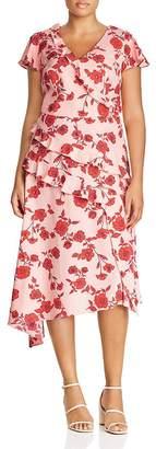 Adrianna Papell Plus Living Blooms Ruffle-Trim Dress