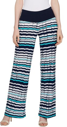 Women With Control Women with Control Tall Tummy Control Pleat Printed Wide Leg Pants