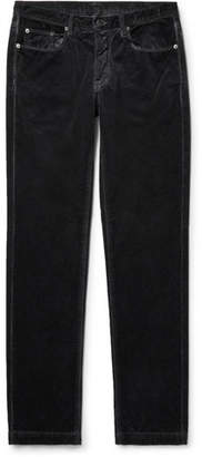 Massimo Alba Slim-fit Cotton-velvet Trousers - Midnight blue