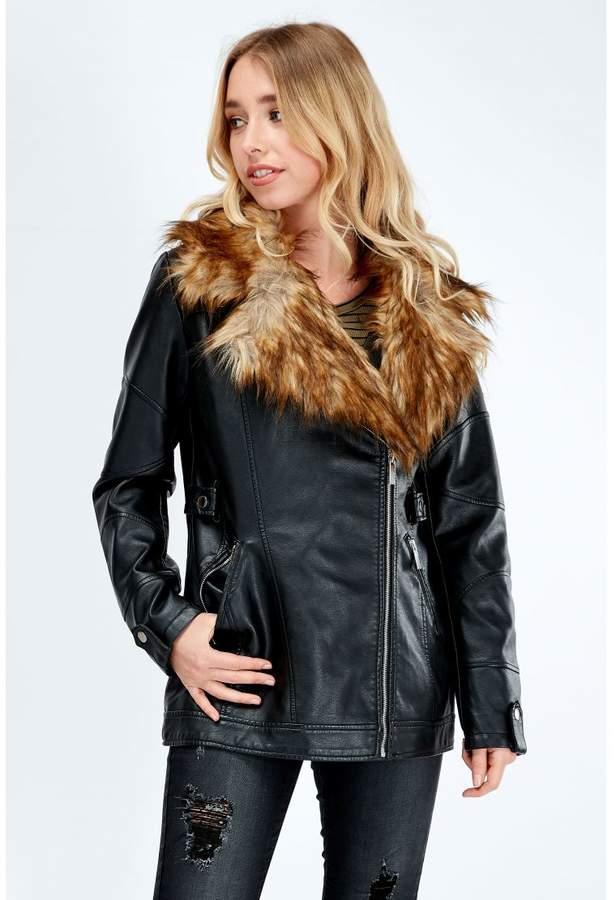 Faux Fur Collar Longline Biker Jacket