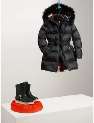 Burberry Detachable Fox Fur Trim Hood Down-filled Coat