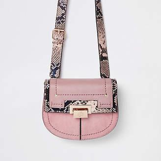 River Island Pink snake print lock front beltbag