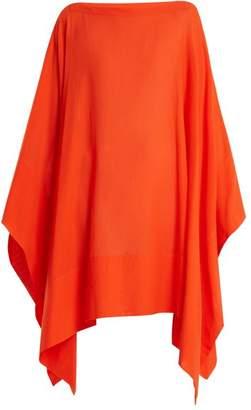 Casa Nata - Split Contrast Hem Cotton Poncho - Womens - Orange