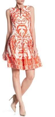 Gabby Skye Front Keyhole Print Scuba Dress