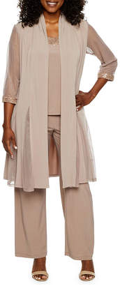 R & M Richards R&M Richards 3-pc Pantsuit with Waterfall Duster-Petite