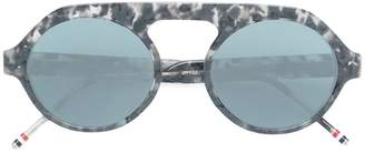 Thom Browne Eyewear tortoiseshell top bar round frame sunglasses