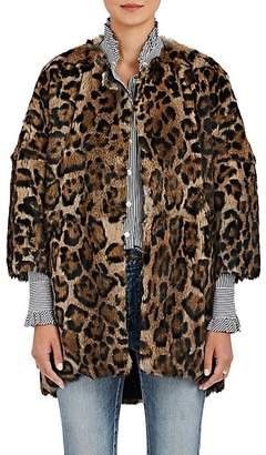 Barneys New York Women's Leopard-Print Rabbit-Fur Coat - Brown