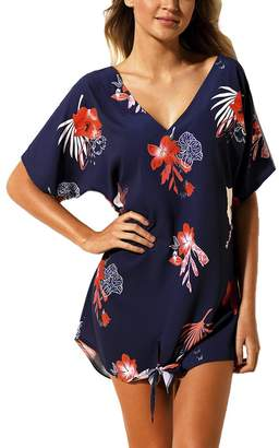 c63a030d13c3e MuCoo Women s Summer V Neck Printed Swimwear Cover Ups Casual Short Beach  Dresses S
