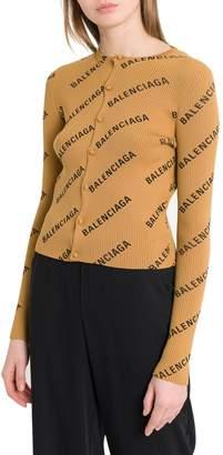 Balenciaga Short Cardigan With Allover Logo