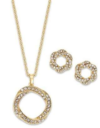 Charter Club Pave Crystal Twisted Necklace and Earring Set Gold Plated