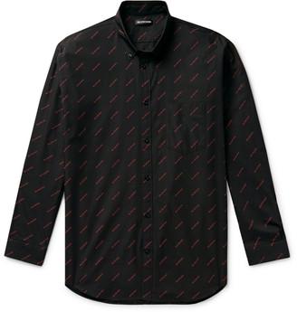 Balenciaga Button-Down Collar Logo-Print Cotton Shirt
