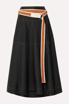 Lee Mathews - Lucien Belted Poplin Midi Skirt - Black