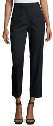 A.L.C. Benji Cropped High-Rise Pinstripe Pants, Navy $425 thestylecure.com