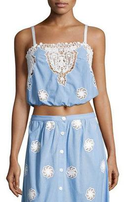 Miguelina Hannah Versailles Sleeveless Lace Crop Top, Blue $270 thestylecure.com