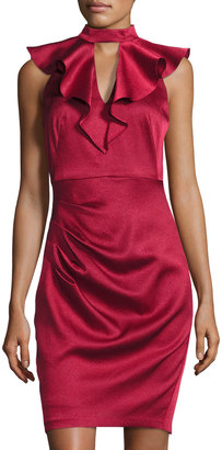 JAX Ruffled Mock-Neck Sheath Dress, Wine $129 thestylecure.com