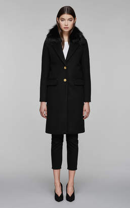 Mackage HENRITA-X classic long wool jacket with removable fur collar