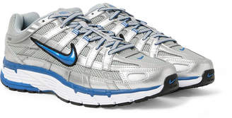 Nike P-6000 Leather, Mesh And Rubber Sneakers - Silver