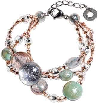 Antica Murrina Redentore 1 - Pink and Green Murano Glass Drops & Silver Leaf Bracelet $78 thestylecure.com