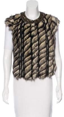 Twelfth Street By Cynthia Vincent Faux Fur Embellished Vest