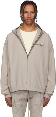 Essentials Taupe Reflective Logo Pullover Anorak