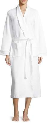 P Jamas Quilted Basket-Weave Robe, White