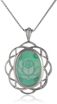 Sterling Silver Agate Rose Cameo Pendant Necklace