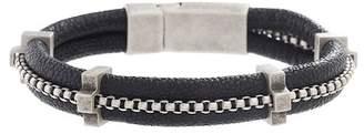 Steve Madden Black Faux Leather Box Chain Center Bracelet