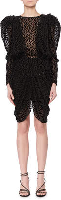 Isabel Marant Puff-Shoulders Dotted Velvet Devore Mini Dress