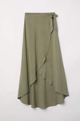 H&M Long Wrap-front Skirt - Green