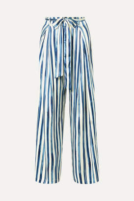 Leone We Are we are Luke Striped Stretch-silk Satin Wide-leg Pants - Blue