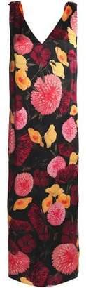Mother of Pearl Floral-Print Silk-Satin Midi Dress