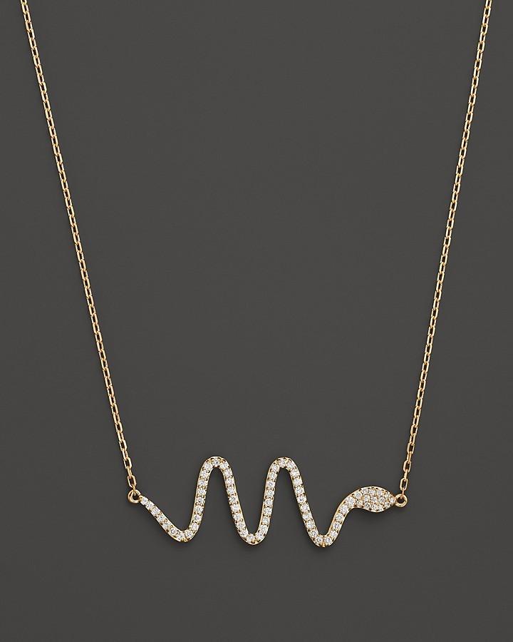 "Khai Khai Diamond Serpent Necklace in 18K Yellow Gold, 17"""