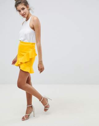 Asos DESIGN mini skirt with frill hem in scuba