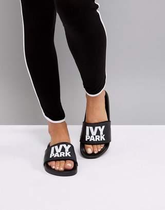 Ivy Park Logo Slider Sandals In Black
