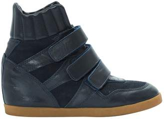 Ann Tuil Navy Leather Trainers