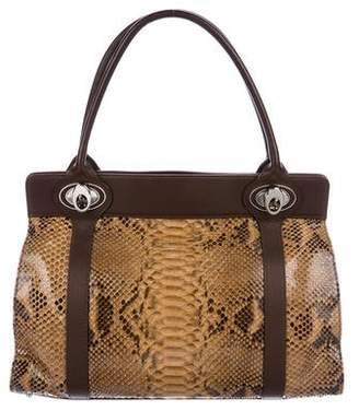 Judith Leiber Python & Leather Handle Bag