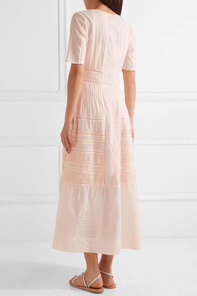 LoveShackFancy - Della Pointelle-trimmed Embroidered Cotton Maxi Dress - Pastel pink 3