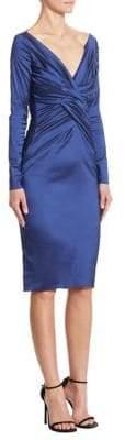 Talbot Runhof Long-Sleeve Ruched Satin Dress